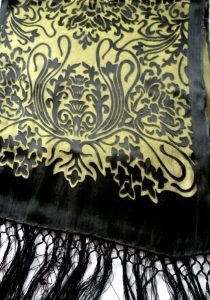 devore gold black scarf - close up