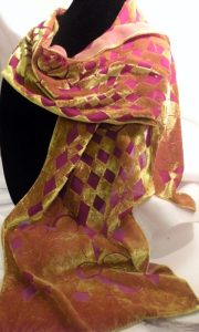 devore gold red scarf- sold
