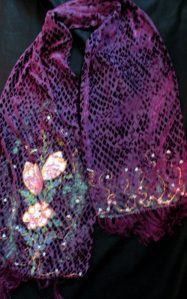 devore painted magenta scarf