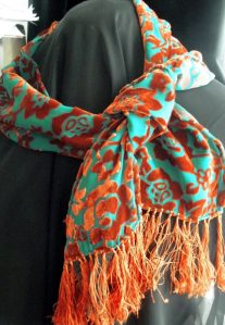 devore turquoise and rust scarf-sold