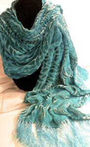 Devore turquoise velvet scarf-AVAILABLE $85.00