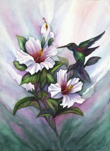 Hibiscus and The Hummingbird - Sold